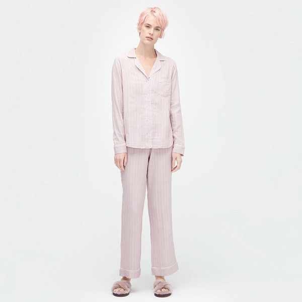 UGG® Women's Raven Stripe Pyjama Set - Dusk ($88) ❤ liked on Polyvore featuring intimates, sleepwear, pajamas, long pajamas, striped pyjamas, striped pajama set, striped pjs and button front pajamas