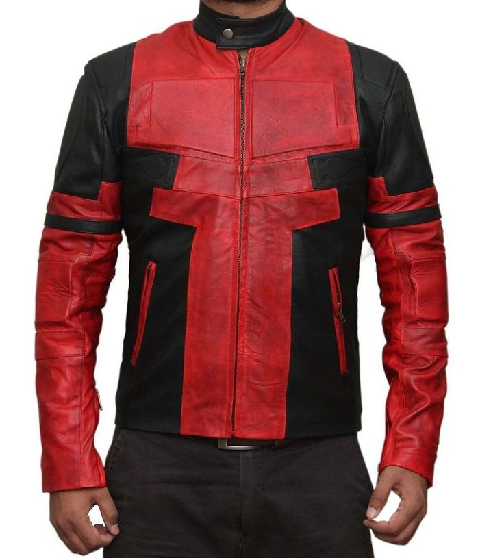 Ryan Reynolds Deadpool Red and Black Movie Leather Jacket in Clothes, Shoes & Accessories, Men's Clothing, Coats & Jackets | eBay