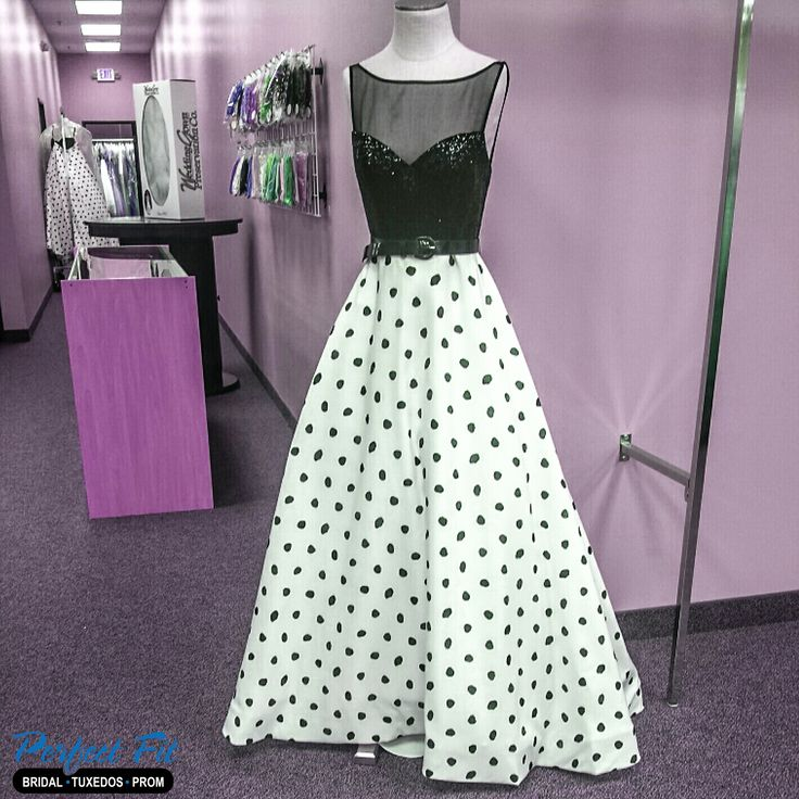 Perfect Fit has the Sadie Robertson Live Original collection by Sherri Hill. It's all about the polka dots! #prom #promideas #SherriHill #style21328 #polkadots #formal #dress #allamerican #SadieRobertson #Clio #Michigan