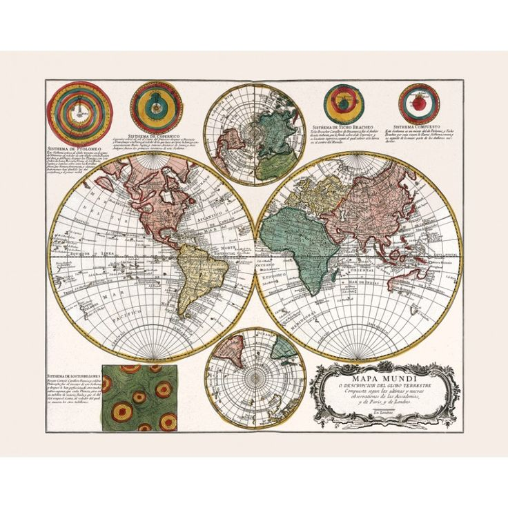 Vintage world map for home interior design. Handmade paper print.