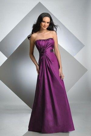 Strapless Satin Purple Floor Length Flower Trimed Bridesmaid Dress $199.99 Bridesmaid Dresses