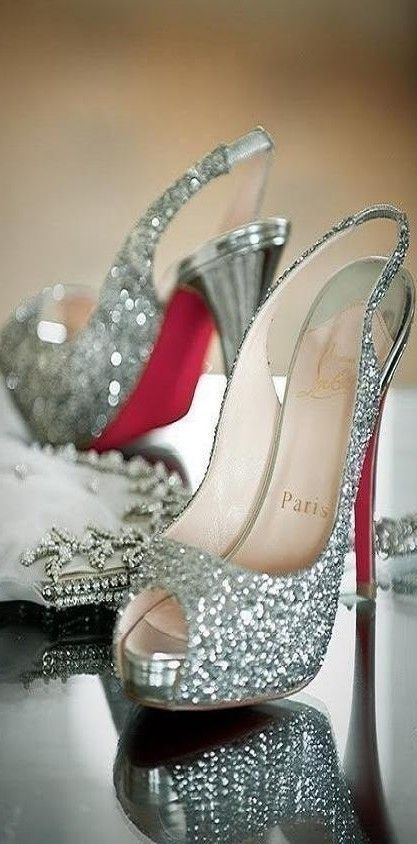 Sparkly Louboutin heels are some dream wedding shoes, but maybe some flip flops for the sand :)