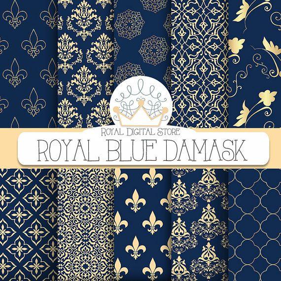 Blue Damask Digital Paper Royal Blue by TheRoyalDigitalStore, $4.80