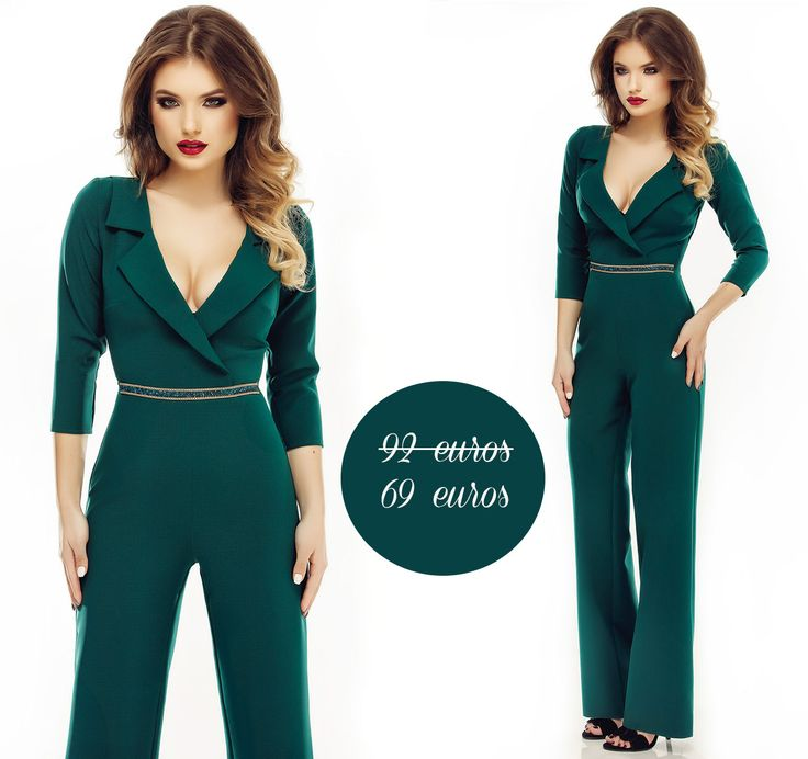 A lovely elegant jumpsuit in emerald shades, now available on sale.