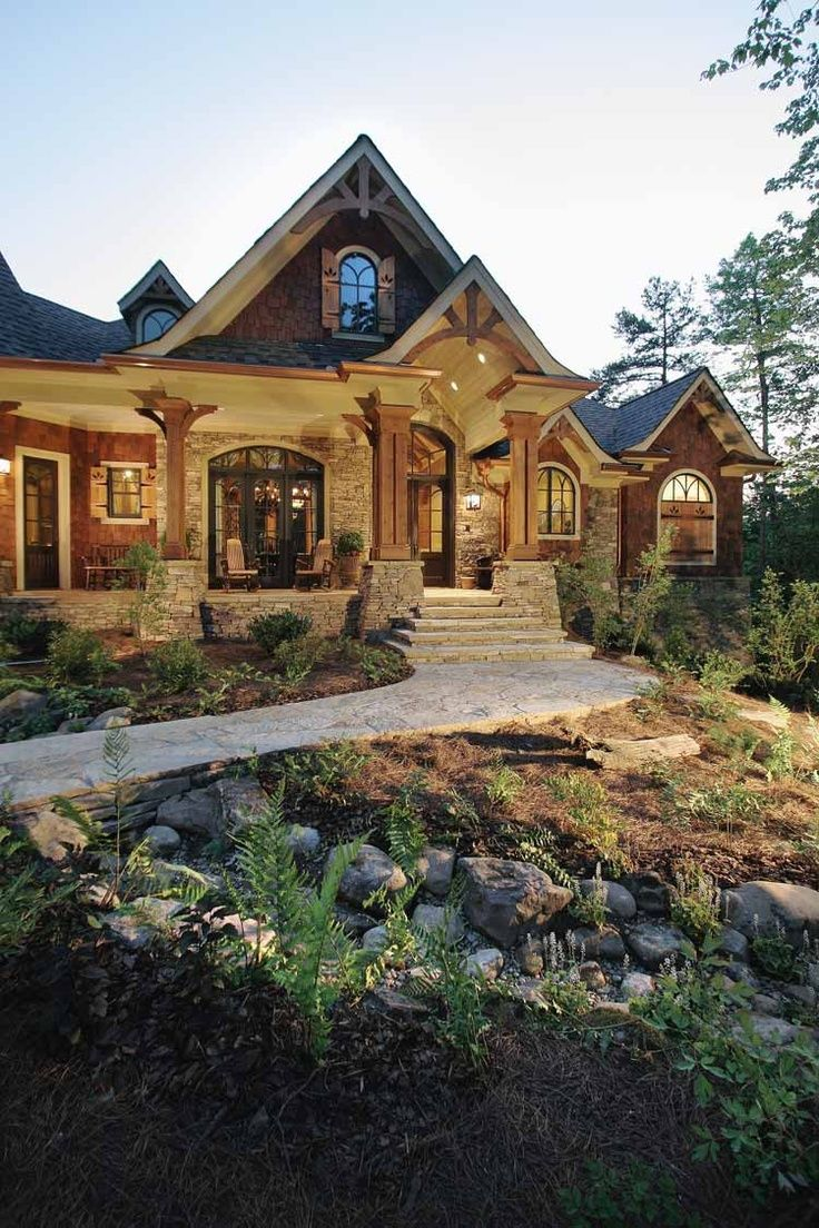 Stone and wood exterior dream house pinterest for Dream home house plans