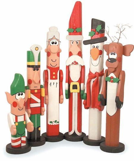 19-W2251 - Christmas Post People - Santa, Snowman and Reindeer Woodworking Plan Set