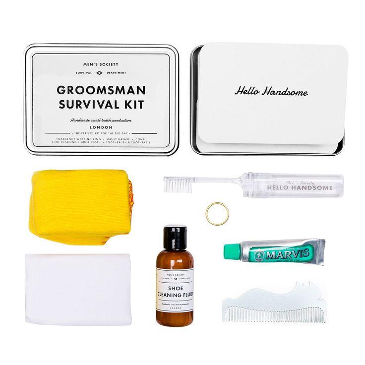 """Kit de survie du Témoin Men's Society.  Retrouvez dans cette boîte """"Groosman survival kit"""" de Men's Society tout le nécessaire indispensable au témoin !"""