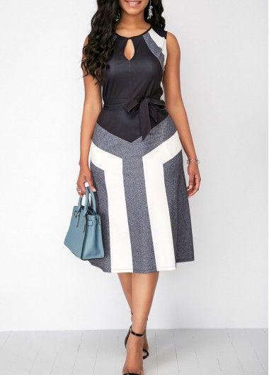 Sleeveless Pocket Keyhole Neckline Color Block Dress | Rosewe.com - USD $33.69