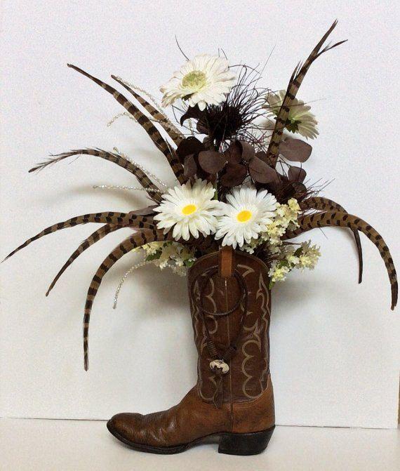 floral arrangement in cowboy boots | Rustic Cowboy Boot Floral Arrangement with Real Turkey Feathers