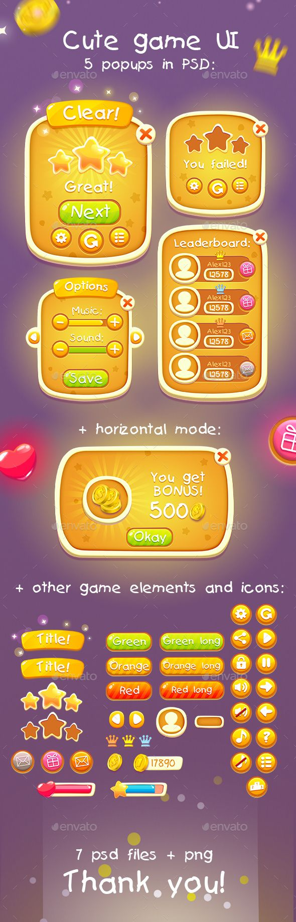 Casual Cute Game UI Asset - User Interfaces Game Assets
