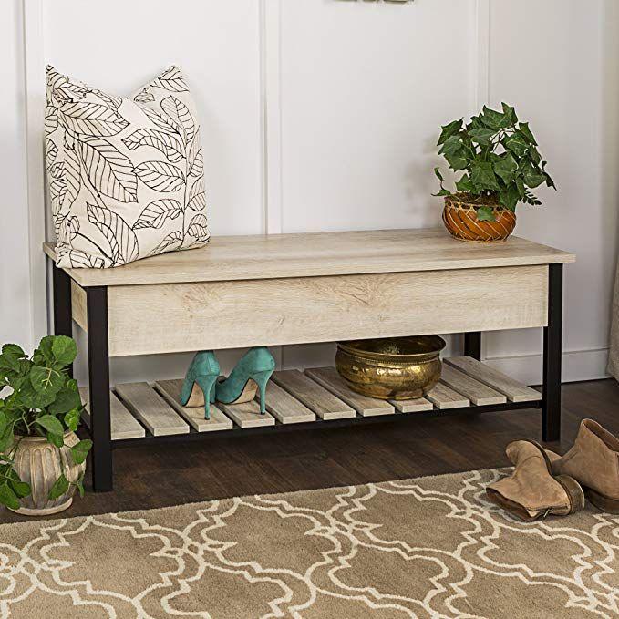 Amazon Com We Furniture Open Top Storage Bench In Gray Wash 48 Gateway Furniture Slatted Shelves Entryway Shoe Storage