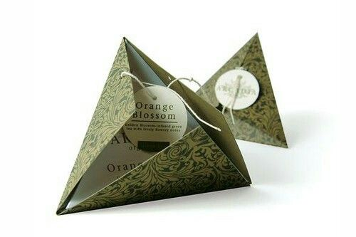 Arcadia Tea. The pattern was lacquer transfered to green paper. They come in a package of four so placed back-to-back all the little pyramids would nest together to make a larger pyramid.