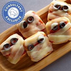bake up these savory halloween themed mini pizzas instead made in the pampered chef brownie pan - Halloween Savory Recipes