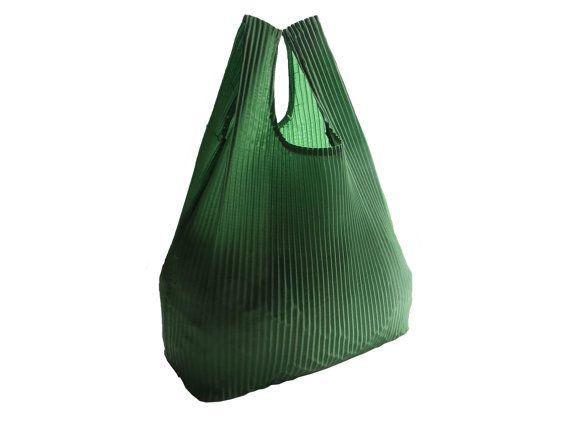 Green Reusable Market Bag  Grocery Bag with by CeeBeeRecycle