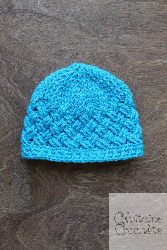 9-24 months old Hat textured diagonal weave by LaCapitaineCrochete