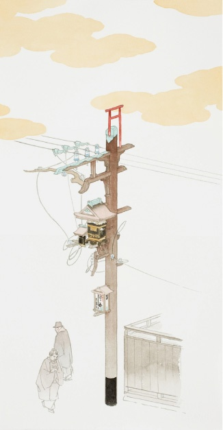 """Yamaguchi Akira   """"Independent Research  (The Art of Electric Pole Arrangement) """"  2008   pen, watercolor, sumi (Japanese ink) on paper   detail from total 18 pieces   photo by Takumi Ota"""