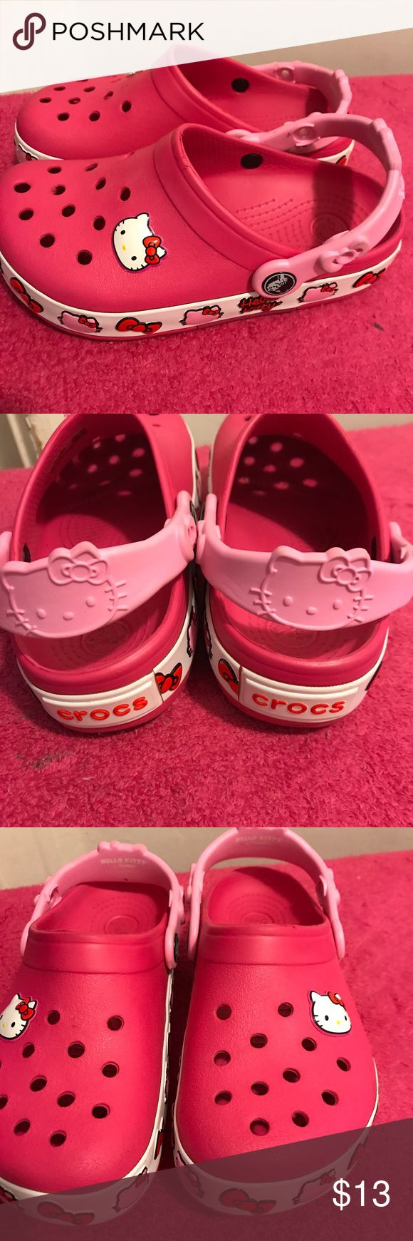 Hello Kitty Crocs Hello Kitty Crocs size 1 excellent condition can add charms to the Crocs CROCS Shoes Mules & Clogs