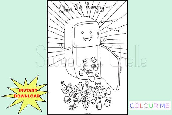 Cute Printable A5 COLORING Page When I'm Hungry by SweetestChelle