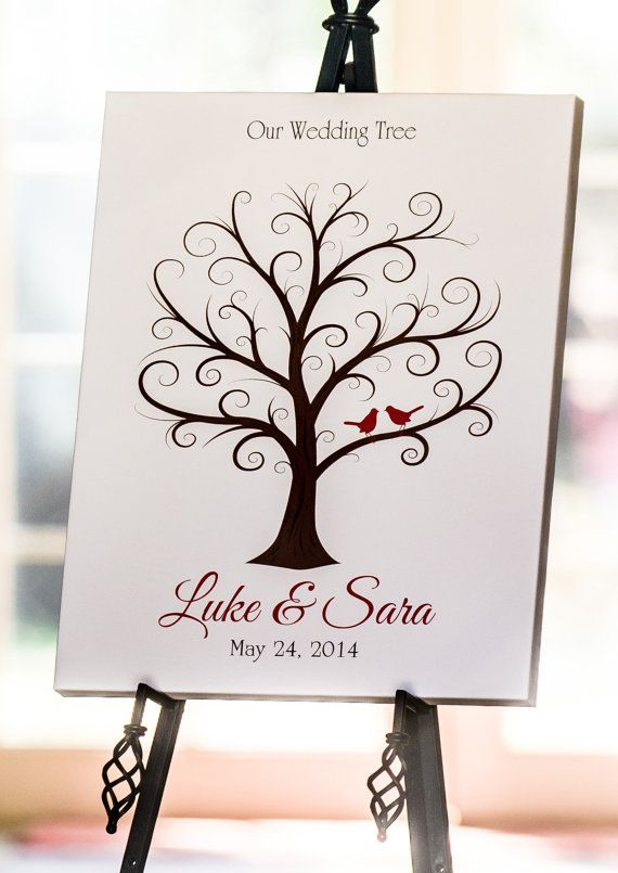 Wedding Guest Fingerprint Tree  Curly Branches by MadeForKeepsShop, $24.00