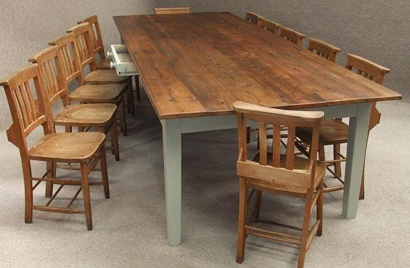 Large Pine Kitchen Table To Seat Up To 12 Rustic Dining Room