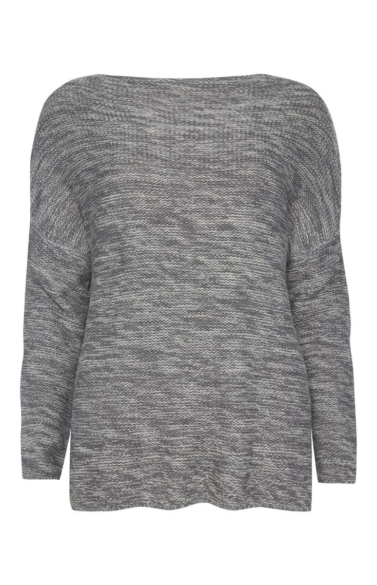 Grey Reverse Stitch Slash Neck Jumper