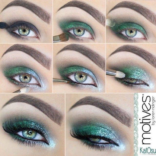 Paso a paso para maquillaje de ojos verde y brillante