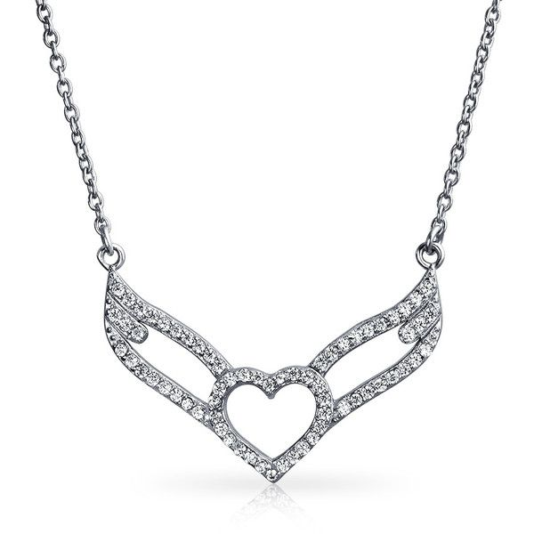 925 Sterling Silver CZ Open Heart Angel Wings Necklace 16in ($40) ❤ liked on Polyvore featuring jewelry, necklaces, clear, theme jewelry, cubic zirconia necklaces, open heart necklace, sterling silver cubic zirconia necklace, sterling silver pendant necklace and angel wing necklace