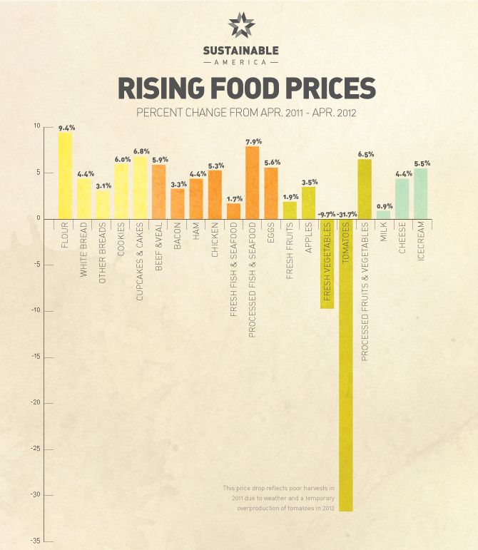 InfoGraphic- Global reasons why food prices are rising, including climate change, the price of oil, and higher demand.