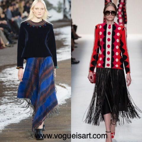 2014-2015 F/W fashion,2014-2015 Sonbahar/kış modası,2014-2015 Sonbahar/kış moda trendleri,2014-2015 Sonbahar/kış kadın modası,Püskül modası,tassel fashion,tassel skirt,püsküllü etek