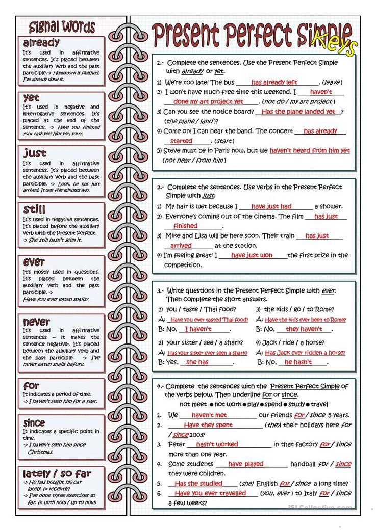 SIGNAL WORDS FOR PRESENT PERFECT worksheet – Free ESL printable worksheets made …