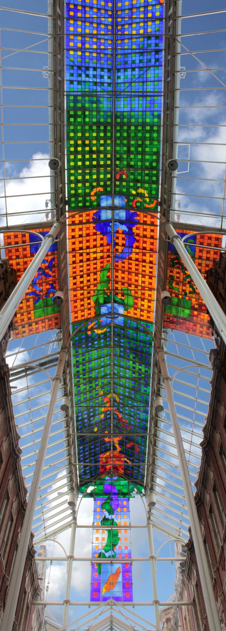 Stained glass by Brian Clarke. At Victoria Quarter, Leeds