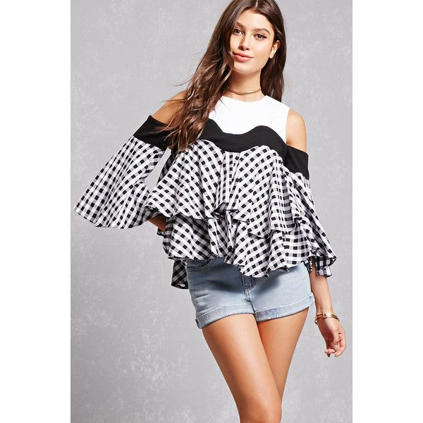 Forever21 Gingham Open-Shoulder Top ($48) ❤ liked on Polyvore featuring tops, forever 21, flared sleeve top, open shoulder top, gingham top and cut-out shoulder tops