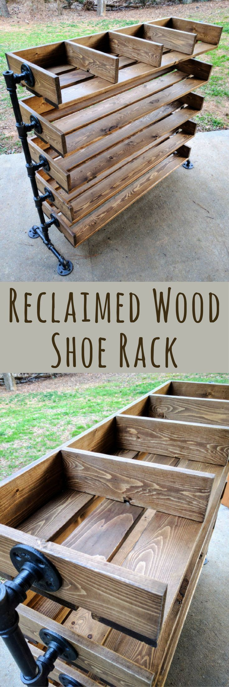 I LOVE the look of these handmade shoe racks! Handmade Reclaimed Cubbies, Reclaimed Wood Shoe Rack, Wooden Shoe Stand, Fixer Upper Decor, Rustic Home Interiors, Rustic Shoe Rack, Closet Organization Ideas, Organizer with Steel Pipe Stand Legs, Housewarming Gift Ideas, Birthday Gift Ideas, Closet Renovation, Christmas Gifts Ideas, Home Storage Solutions #affiliatelink #closetorganizer