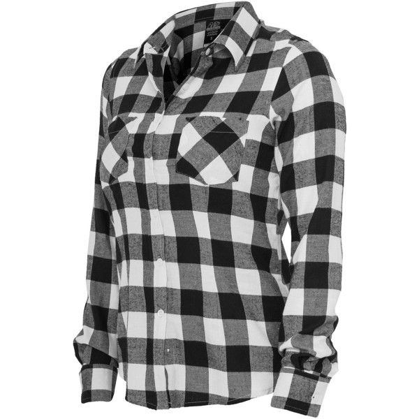 Urban Classics Ladies Hemd Checked Flanell Shirt, TB388 schwarz/weiss (92 BRL) ❤ liked on Polyvore featuring tops, check pattern shirt, urban shirts, urban tops, checkered top and shirt top