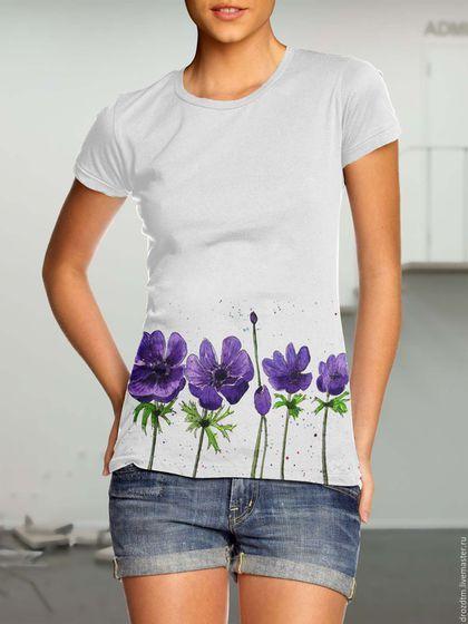 Купить Ручная роспись футболка с цветами - белый, футболка, футболка с рисунком, футболка на заказ
