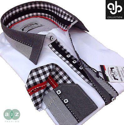 Brand New Mens Formal White, Black Grey Smart Italian Designer Slim Fit Shirt