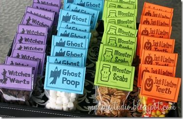 Halloween Treat Bags from mudpiestudio.blogspot.com - Witches Warts = Chocolate Chips, Marshmallows = Ghost Poop, Cinnamon Toast Crunch cereal = Monster Scabs, Jack O Lantern Teeth = Candy Corn