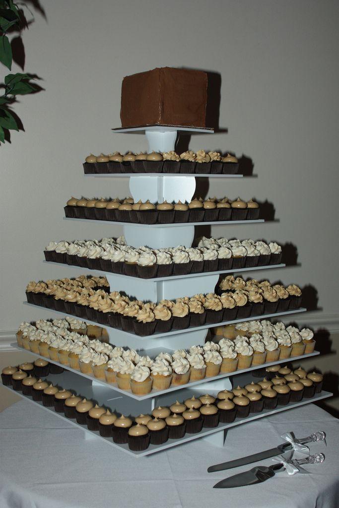 Custom Square Cupcake Tower Display with Mini Cupcakes: http://www.thesmartbaker.com/5-tier-square-cupcake-tower/