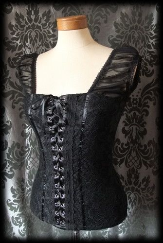 Gothic Black Lace DEMONIC Fitted Corset Panel Lace Up Top 8 10 Victorian Rock - £24.00