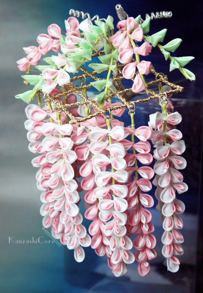 may kanzashi: a wisteria and trellis design