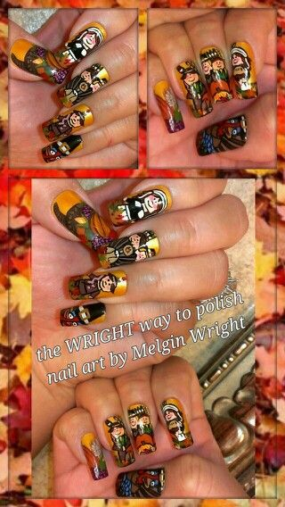 Thanksgiving inspired- Hand painted nail art. Painted with Nail polish and acrylic paint by Melgin Wright. Thanksgiving nails.  Thanksgiving nail art. Turkey Day nails. Turkey Day nail art. http://www.facebook.com/TheWrightWayToPolishNailArtByMelginWright  http://pinterest.com/melginswright/boards/