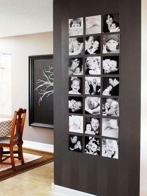 Exibição de fotos quadrado preto & branco da parede. Com um tamanho consistente e formato (e espaço da parede suficiente!), Você pode adicionar fotos ao longo dos anos para uma bela e única linha de tempo da família.