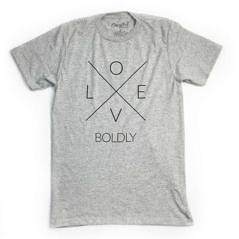 "This is a heather blended unisex tee with our ""Love Boldly"" X design. FIT: Unisex - Runs true to size. *Heathered grey with vintage charcoal design."