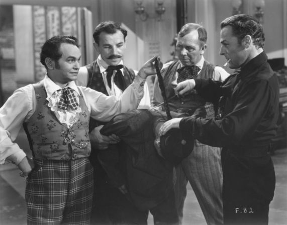 "Edward G. Robinson and Brian Donlevy (in black) in the 1935 movie ""Barbary Coast."""