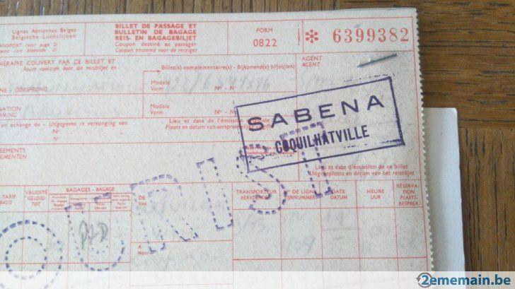 4 anciens ticket avion sabena + passeport de l'époque plus d'informations sur demande
