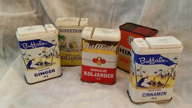 ou spesery blikke / vintage spice tins/ pot 'o gold / buffalo