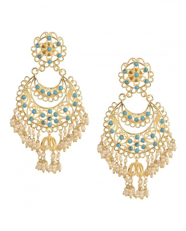 Chandelier Earrings With Turquoise Beads By Bansri Joaillerie Now Http Bit Ly Bansrijewels Gold Multicolour Druzystones Ethnic Pearl