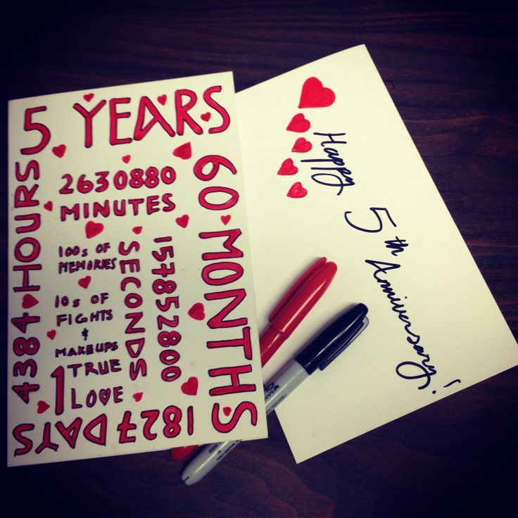 5th Wedding Anniversary Gift Ideas For Husband: Homemade Anniversary Cards, 5