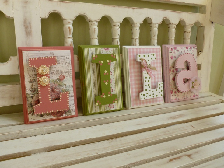 Shabby Chic Custom Name Wall Letters Personalized Child Girls Room Art New Baby Pink Green Flowers Ornate Distressed Vintage. $10.00, via Etsy.