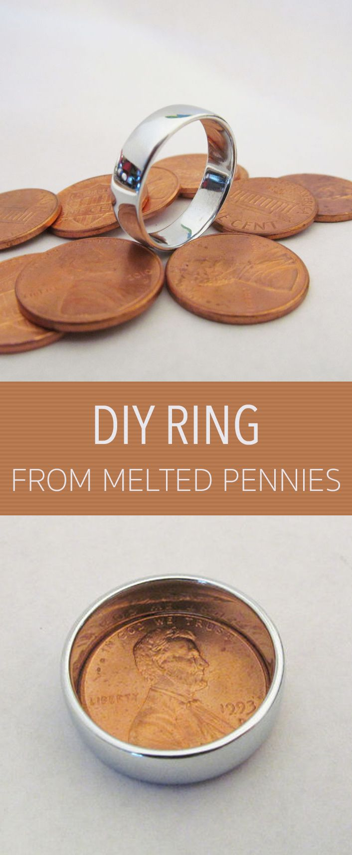 This ring is made from pennies. You can smelt the copper coating off leaving you with zinc. Pennies minted after 1983 are all made like this.